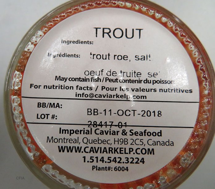 VIP Caviar Club Trout Roe Botulism Recall in Canada Has Been Updated