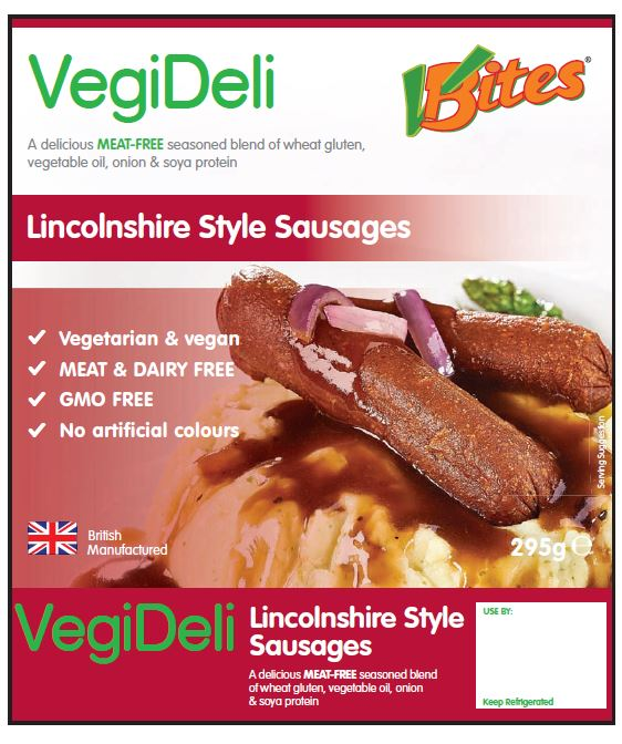 Recall of a Batch of VBites VegiDeli Lincolnshire Style Sausages Due to Incorrect Use-By Date