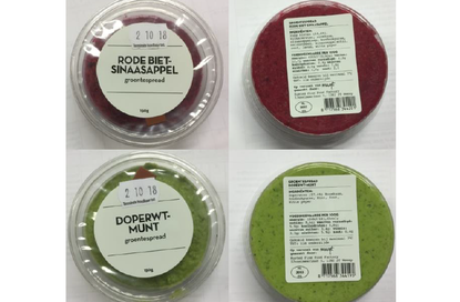 Important safety warning red beet orange and pea-mint vegetable spread Marqt, allergens