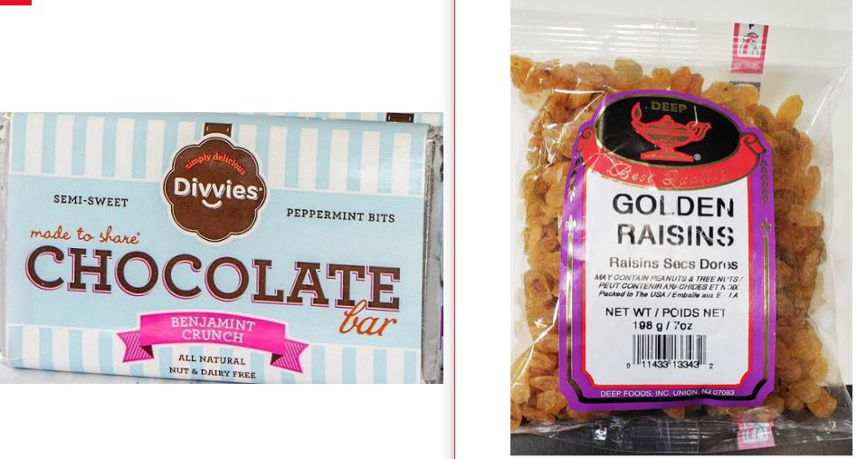 Divvies Benjamint Chocolate Bars Recalled For Milk and Deep Golden Raisins Recalled For Sulfites