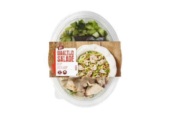 Important safety warning Meal Salad Chicken Soy Sauce 400 grams Jan Linders and Vomar Voordeelmarkt (allergens)