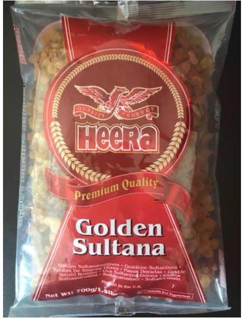 P&B Foods recalls Heera Premium Quality Golden Sultanas because of Undeclared Sulphites