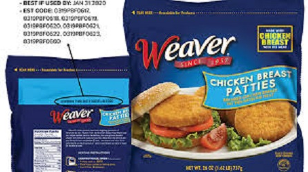 Weaver Chicken Breast Patties Recalled For Foreign Material
