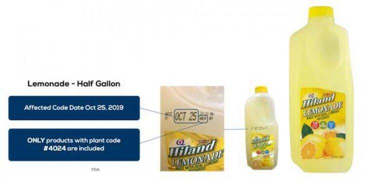 Hiland Dairy Lemonade Recalled For Undeclared Milk
