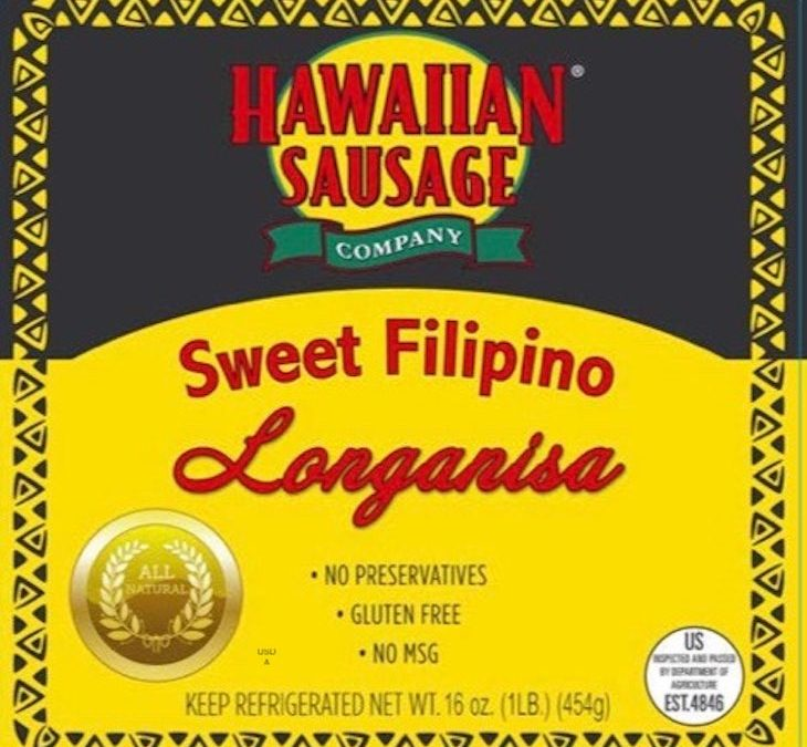 Hawaiian Sausage Company Sweet Filipino Longanisa Recalled