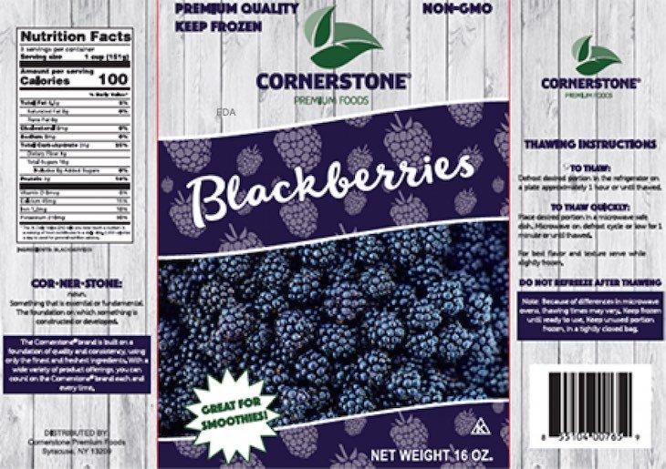 Cornerstone Frozen Blackberries Recalled For Possible Norovirus