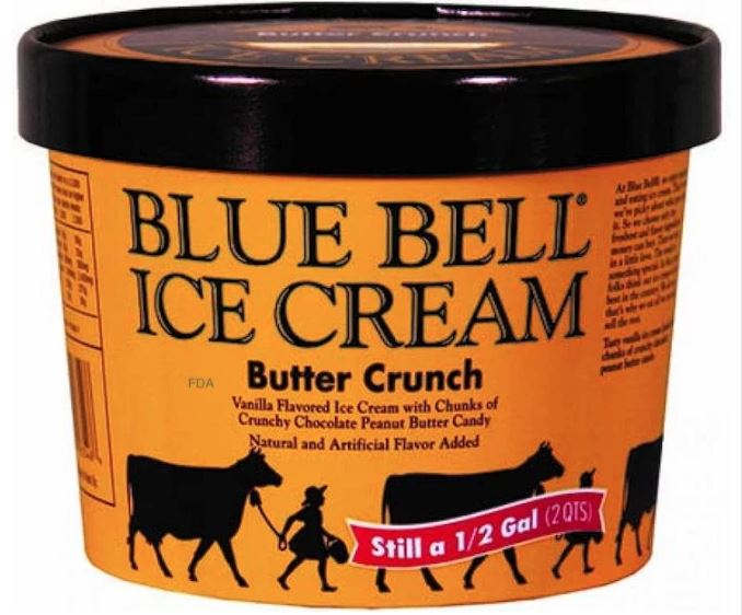 Blue Bell Butter Crunch Ice Cream Recalled For Foreign Material