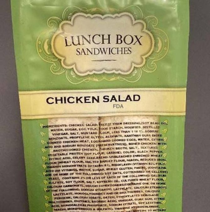 Lunch Box Chicken Sandwiches Recalled For Possible Listeria