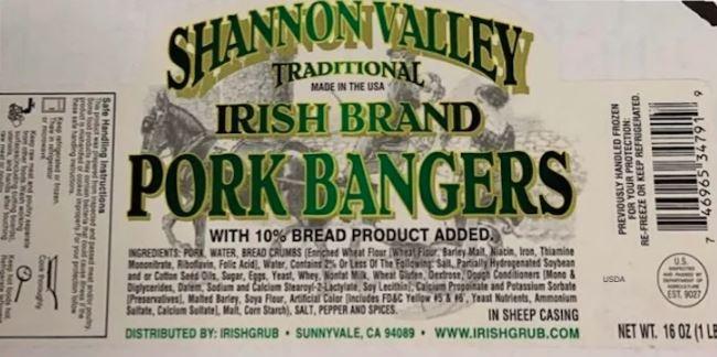 Shannon Valley Irish Brand Pork Bangers Recalled