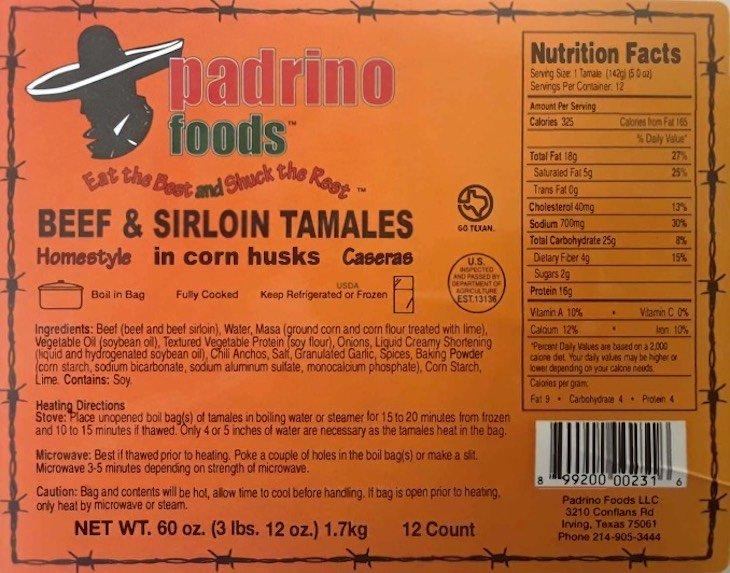 Padrino Foods Recalls Tamales For Undeclared Allergen